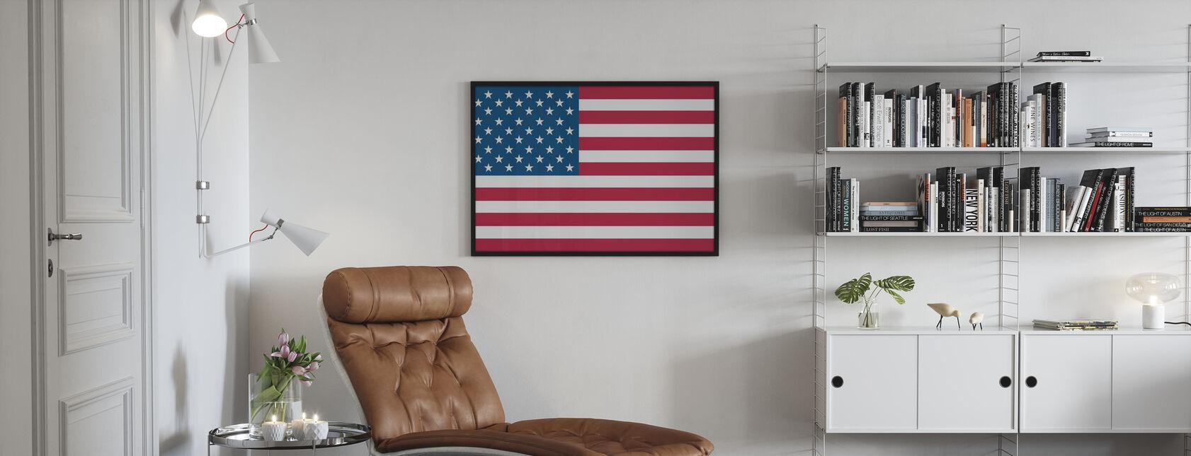 Vlag van Verenigde Staten - Ingelijste print - Woonkamer