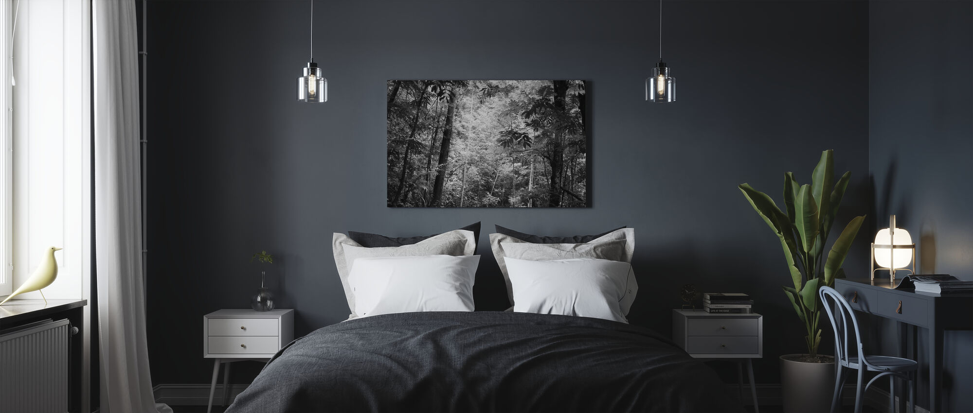 Höyrymetsä - b/w - Canvastaulu - Makuuhuone