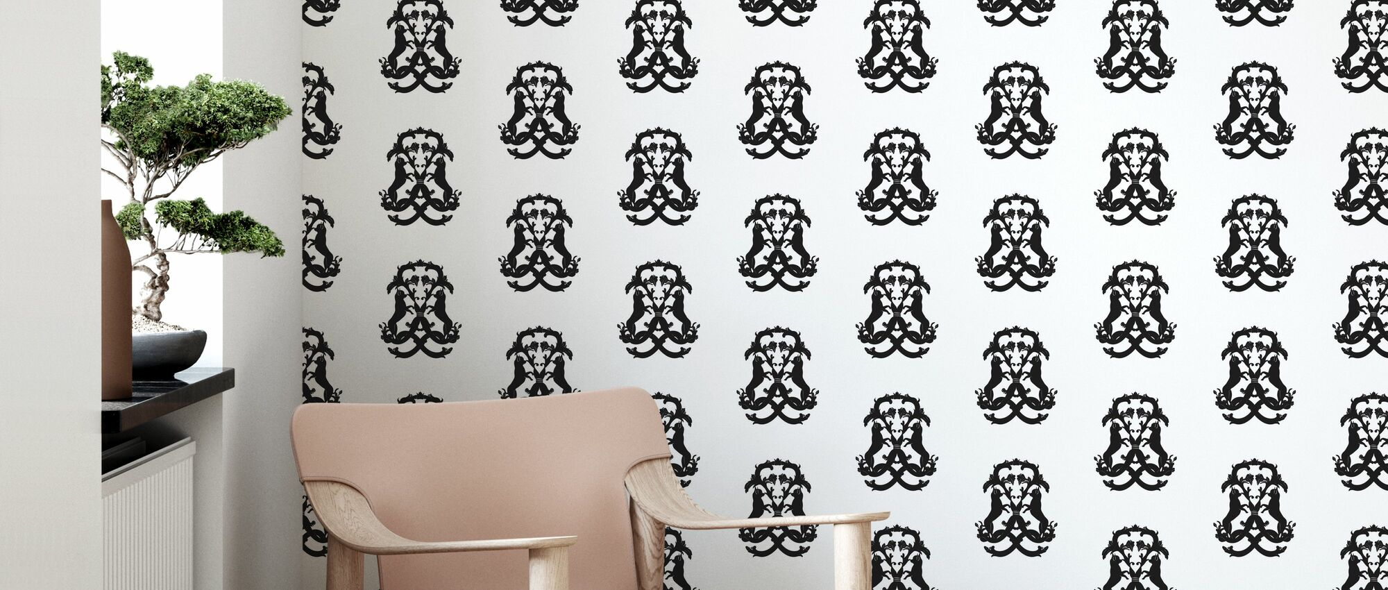 Dog Medallion - White - Wallpaper - Living Room