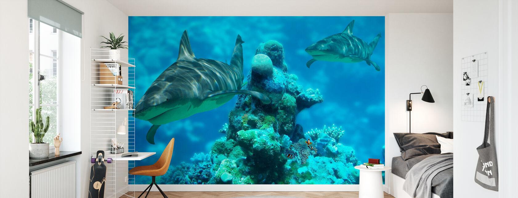 Shark Bommie - Wallpaper - Kids Room