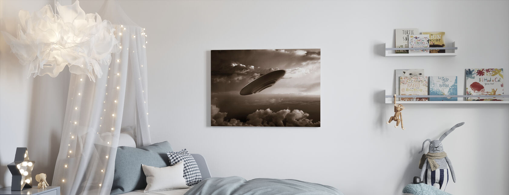 Ufo - Sepia - Canvas print - Kinderkamer