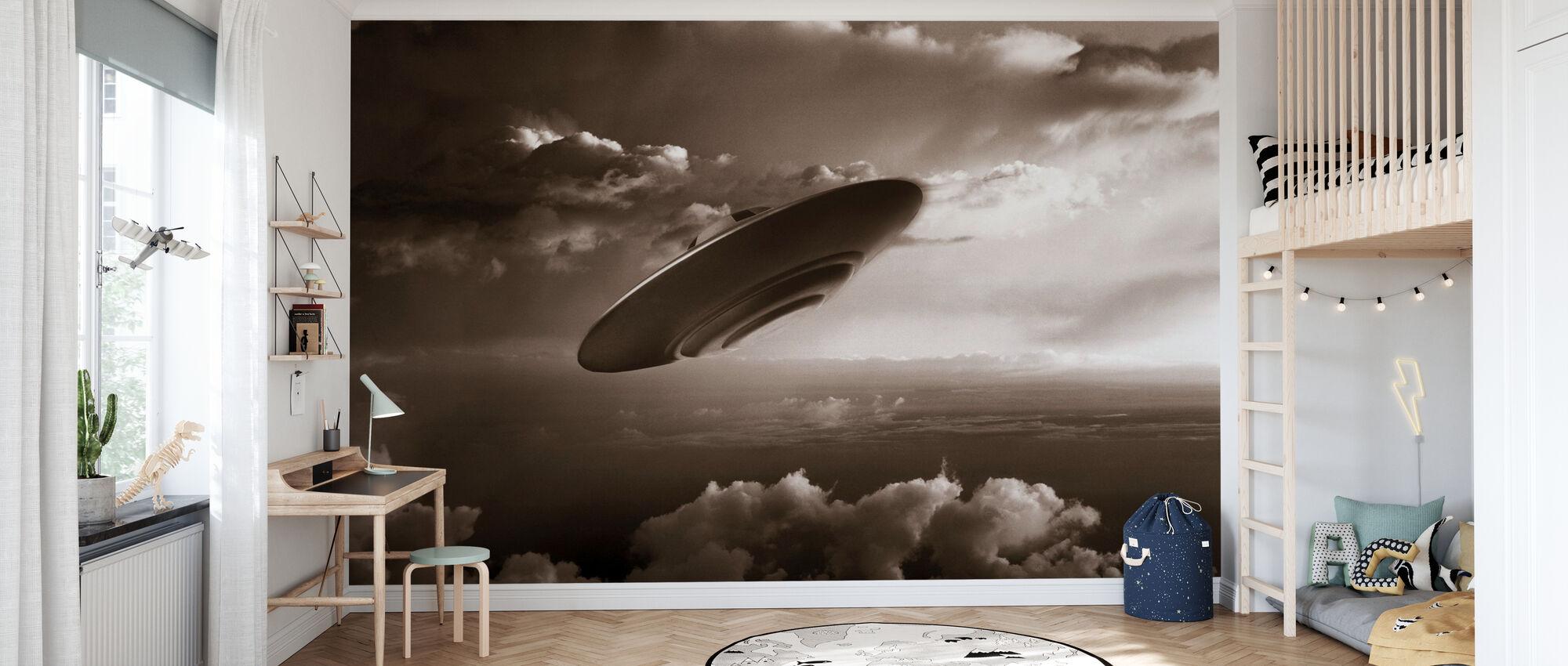 Ufo - Sepia - Wallpaper - Kids Room