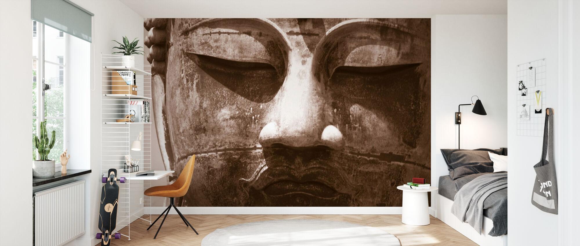 Blue Buddha - Sepia - Wallpaper - Kids Room