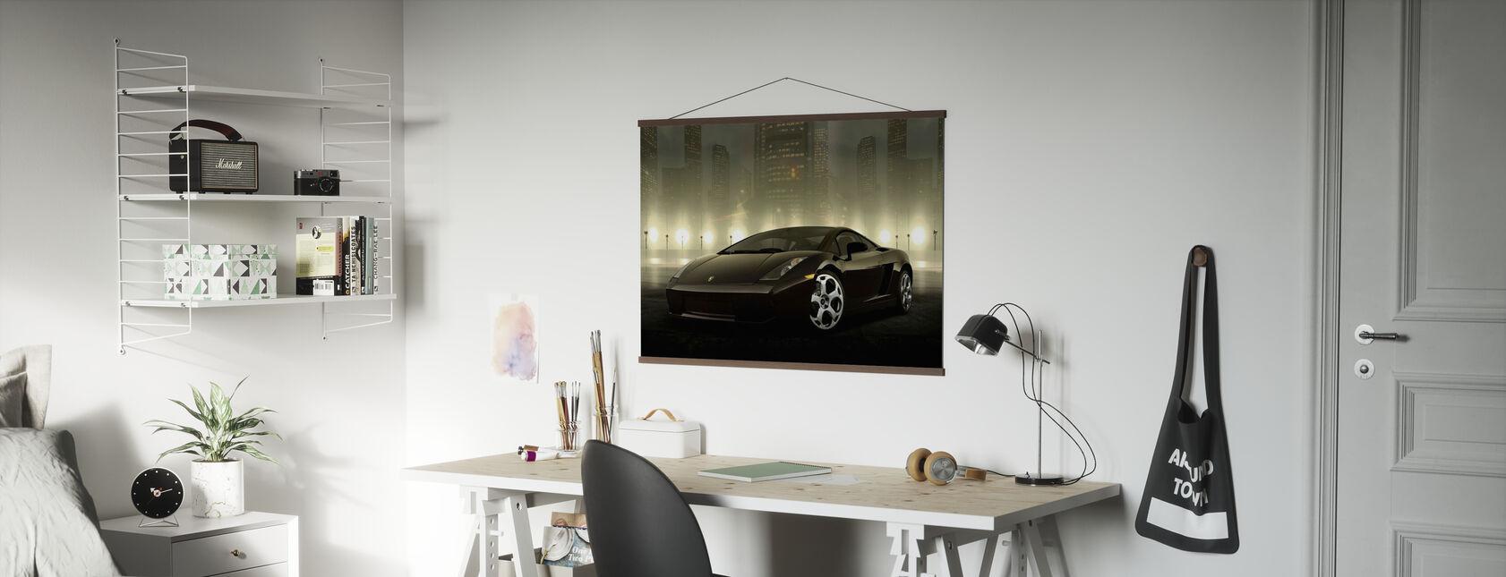Donker Lamborghini - Poster - Kantoor
