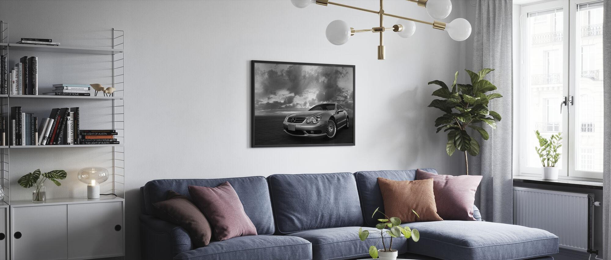 Mercedes-Benz SL55 - z/w - Ingelijste print - Woonkamer