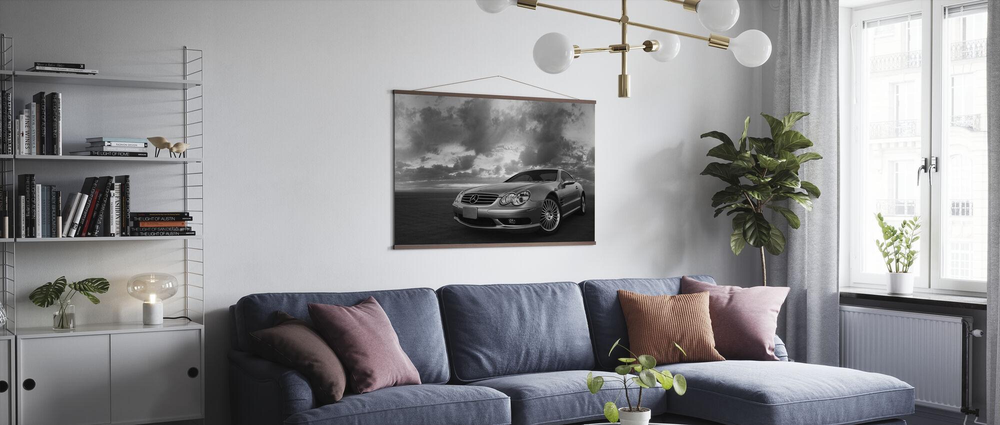 Mercedes-Benz SL55 - b/w - Poster - Living Room