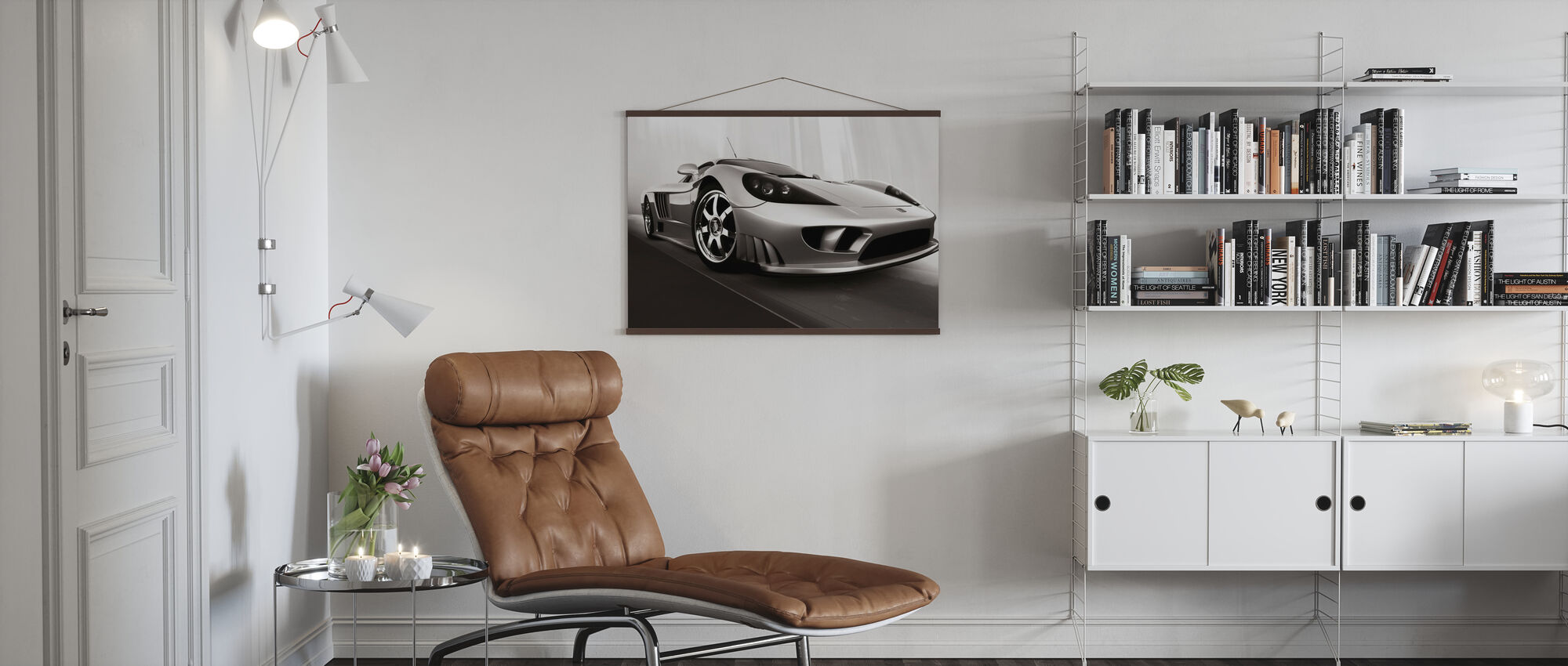 Saleen S7 - b/w - Poster - Living Room