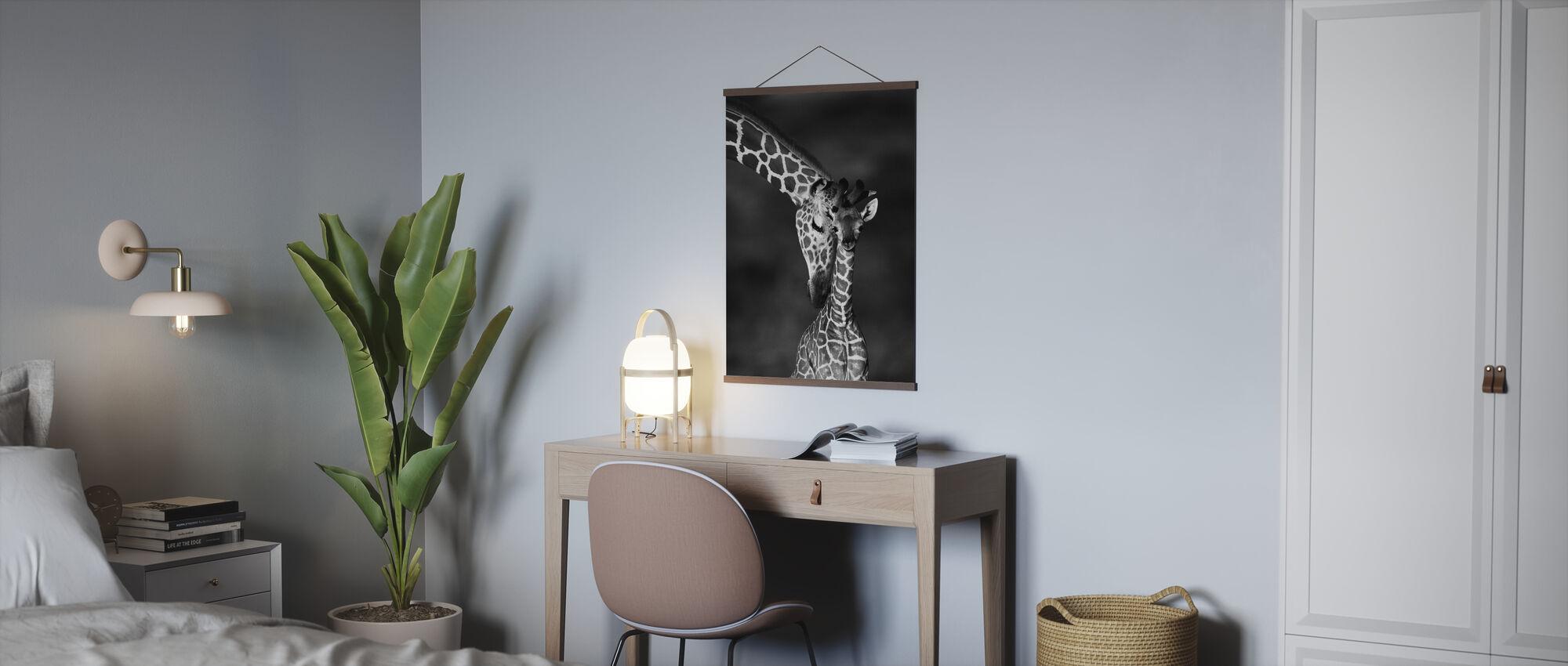 Girafes - n/b - Affiche - Bureau