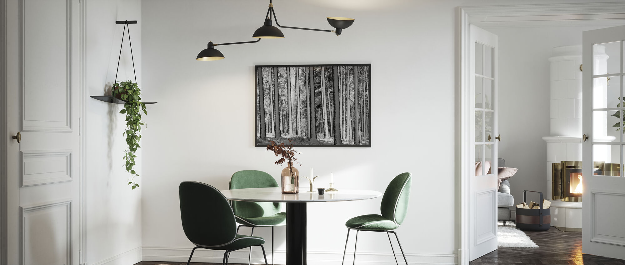 Winter Forest - b/w - Framed print - Kitchen