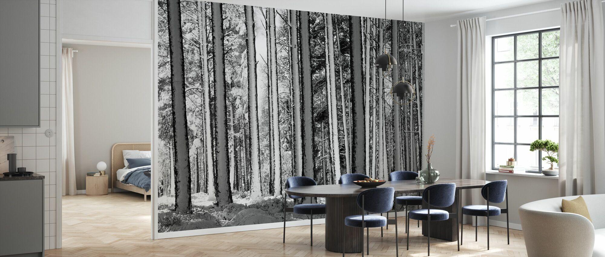 Winter Forest - b/w - Wallpaper - Kitchen