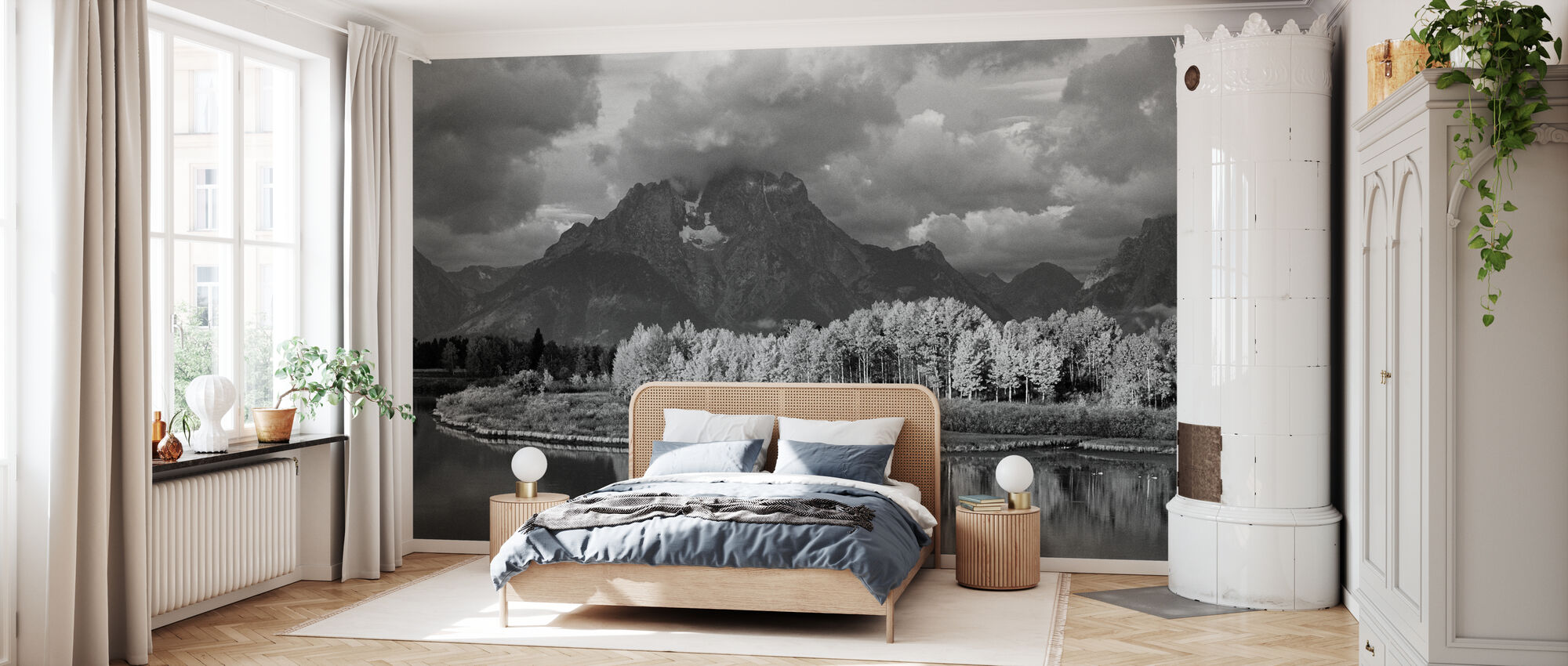 Grand Teton - b/w - Wallpaper - Bedroom