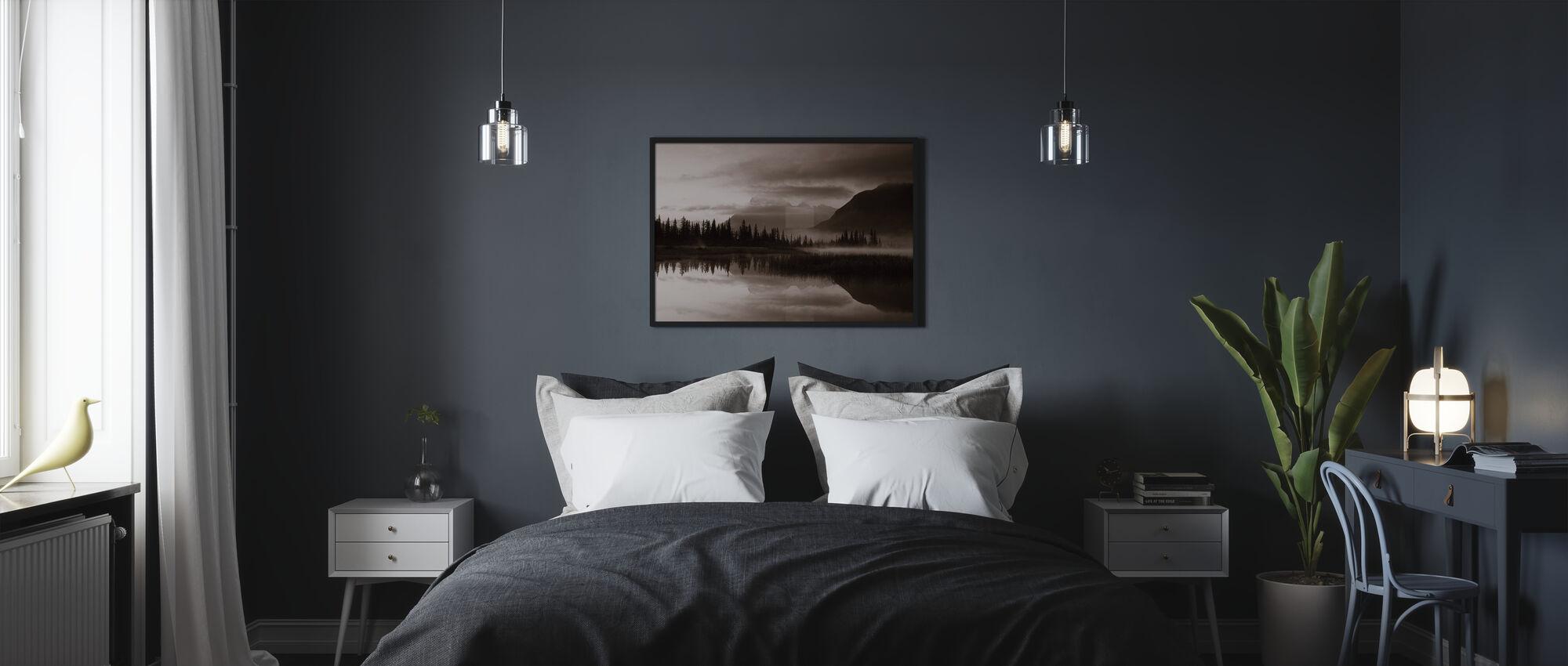 Reflectie - Sepia - Ingelijste print - Slaapkamer