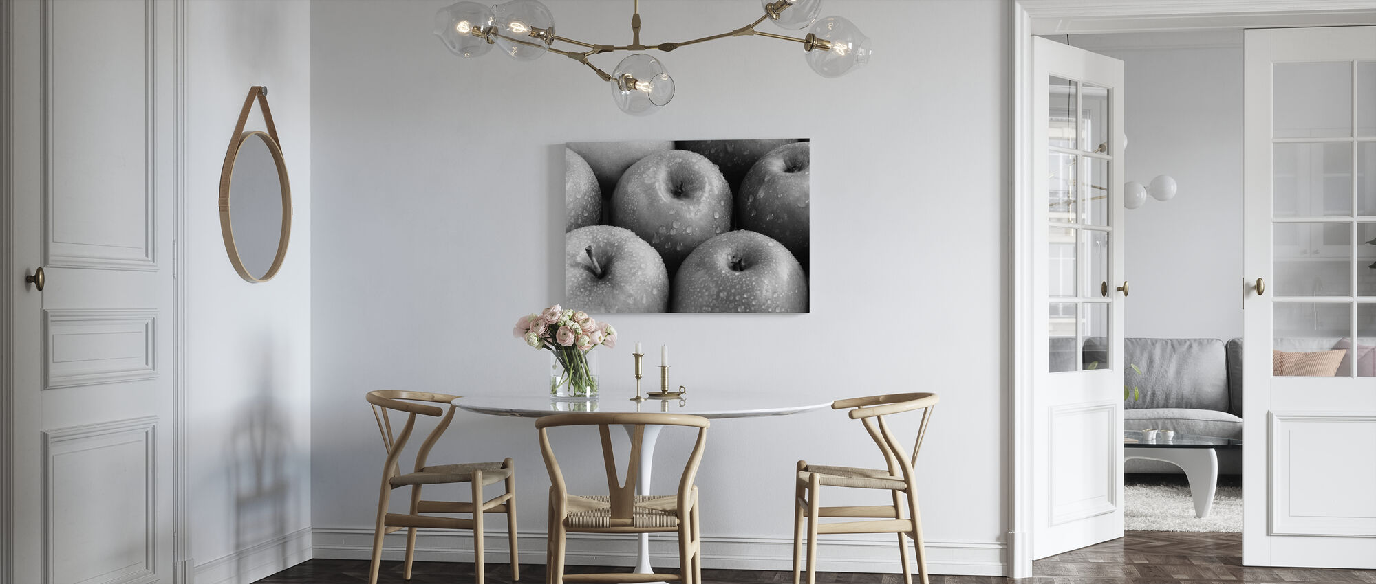 Apples - b/w - Canvas print - Kitchen