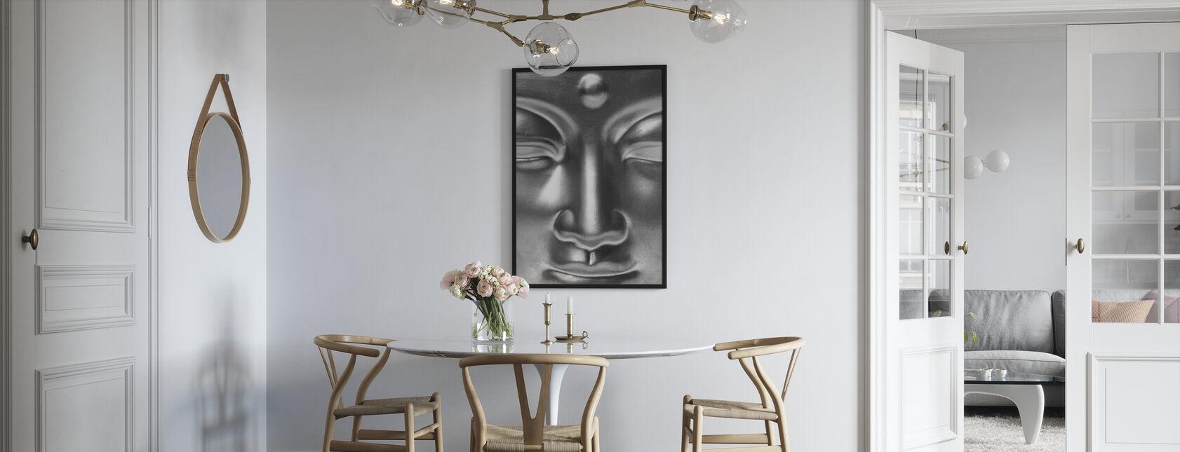 Golden Buddha Close Up - b/w - Framed print - Kitchen