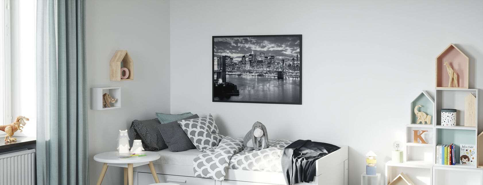 Brooklyn Bridge Cloudy Day - Poster - Kids Room