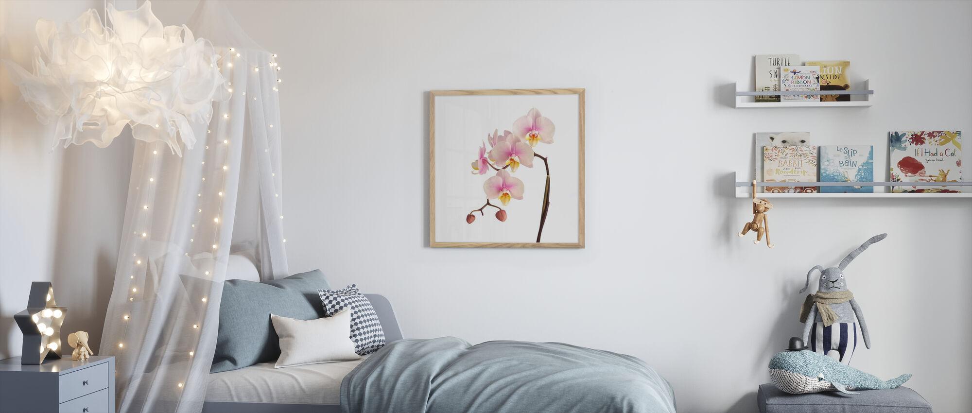 Pink Orchid Stem - Framed print - Kids Room