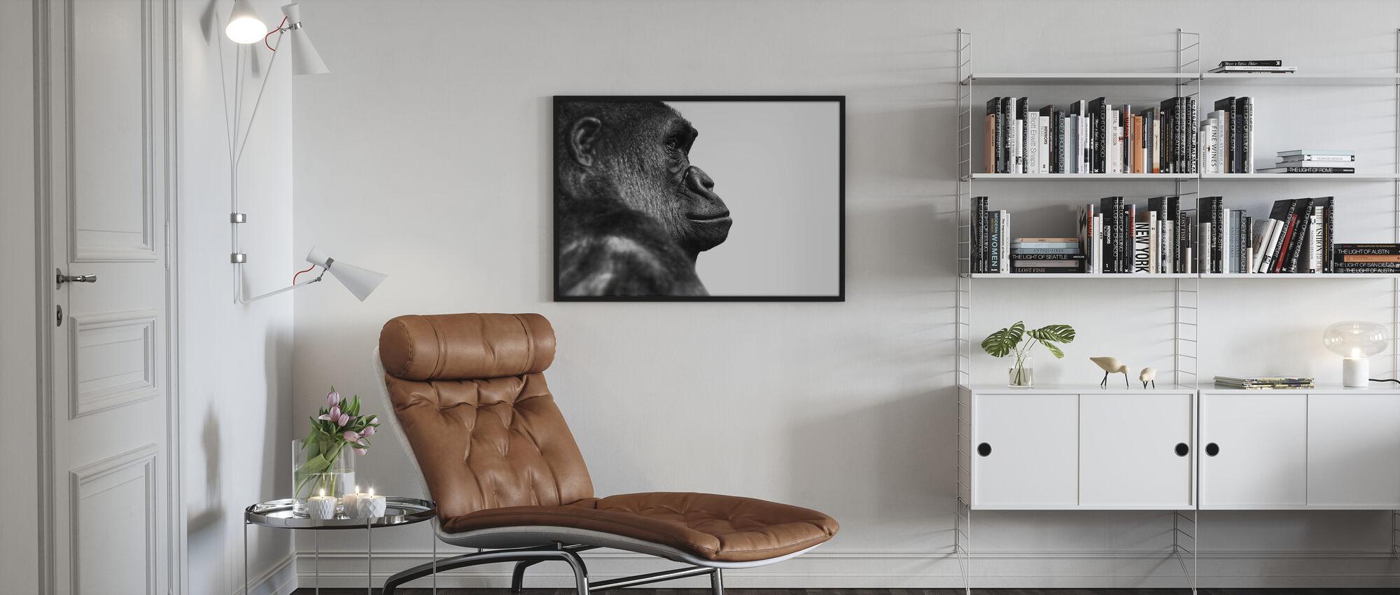 Gorilla - b/w - Poster - Living Room