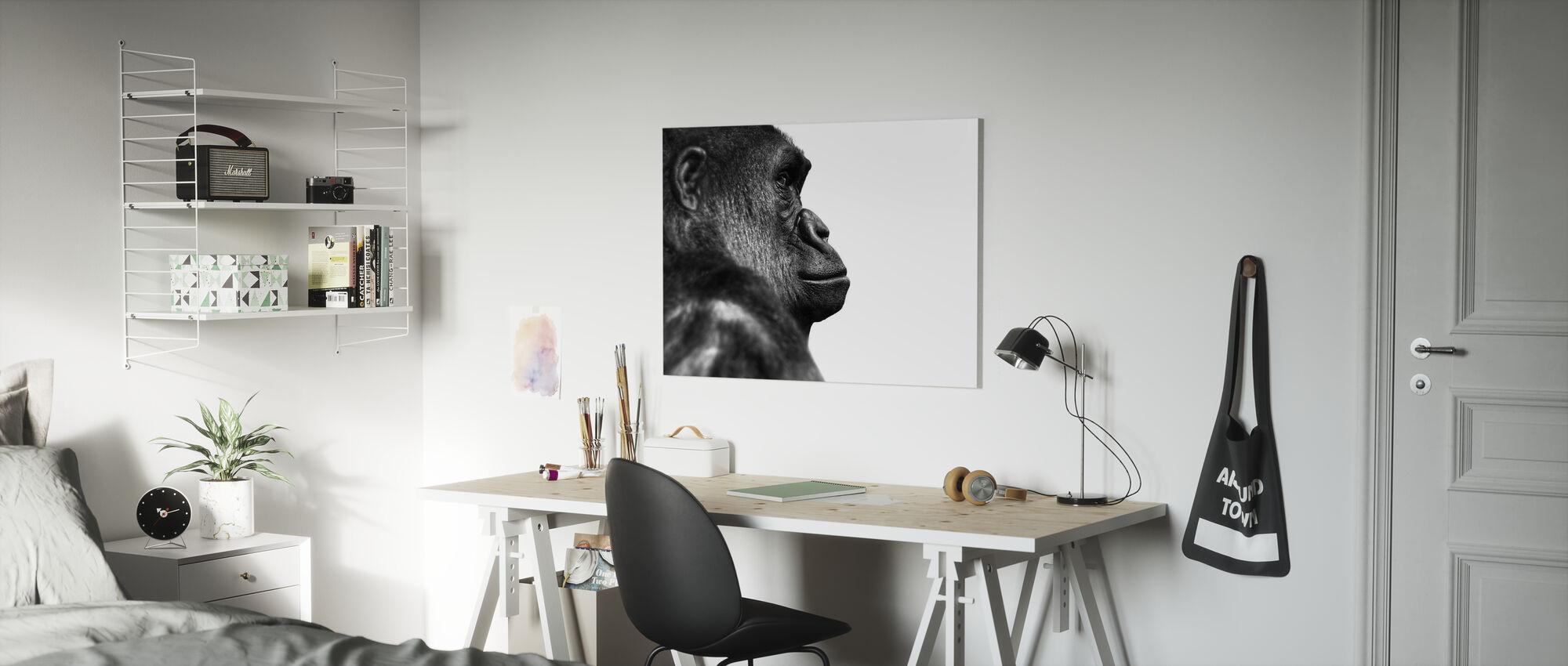 Gorilla - b/h - Billede på lærred - Børneværelse