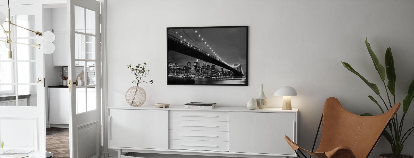 Brooklyn Bridge at Night - b/w - Poster - Living Room