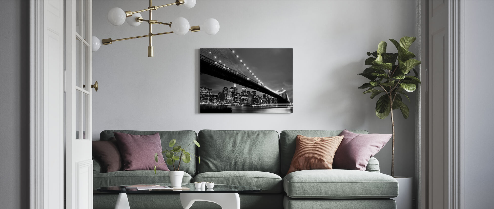 Brooklyn Bridge at Night - b/w - Canvas print - Living Room