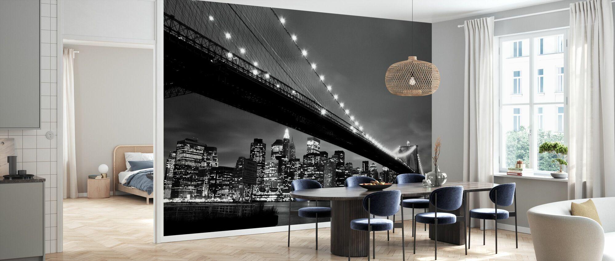 Brooklyn Bridge yöllä - b/w - Tapetti - Keittiö