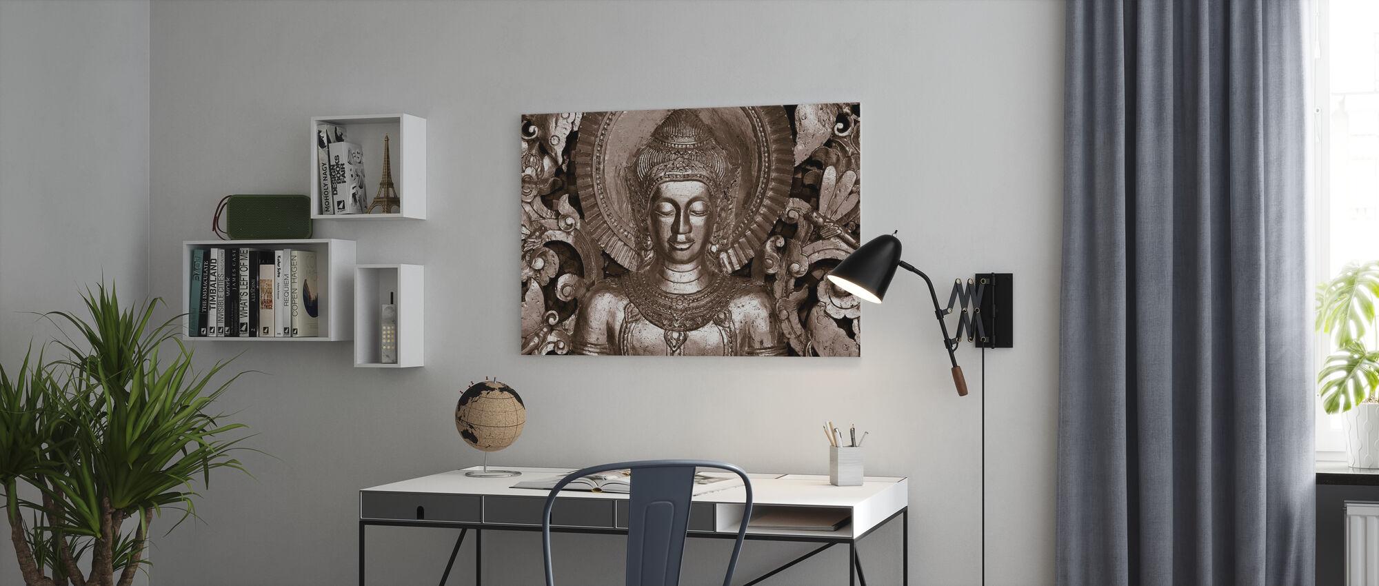 Buddha - Luang Prabang - Sepia - Canvas print - Kantoor