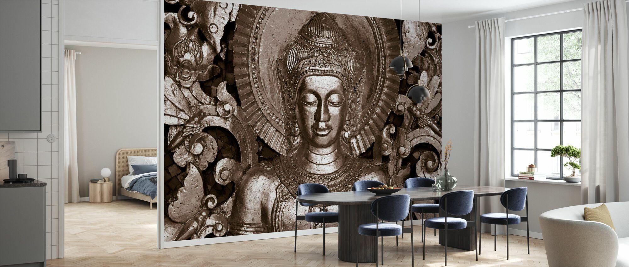 Buddha - Luang Prabang - Sepia - Wallpaper - Kitchen