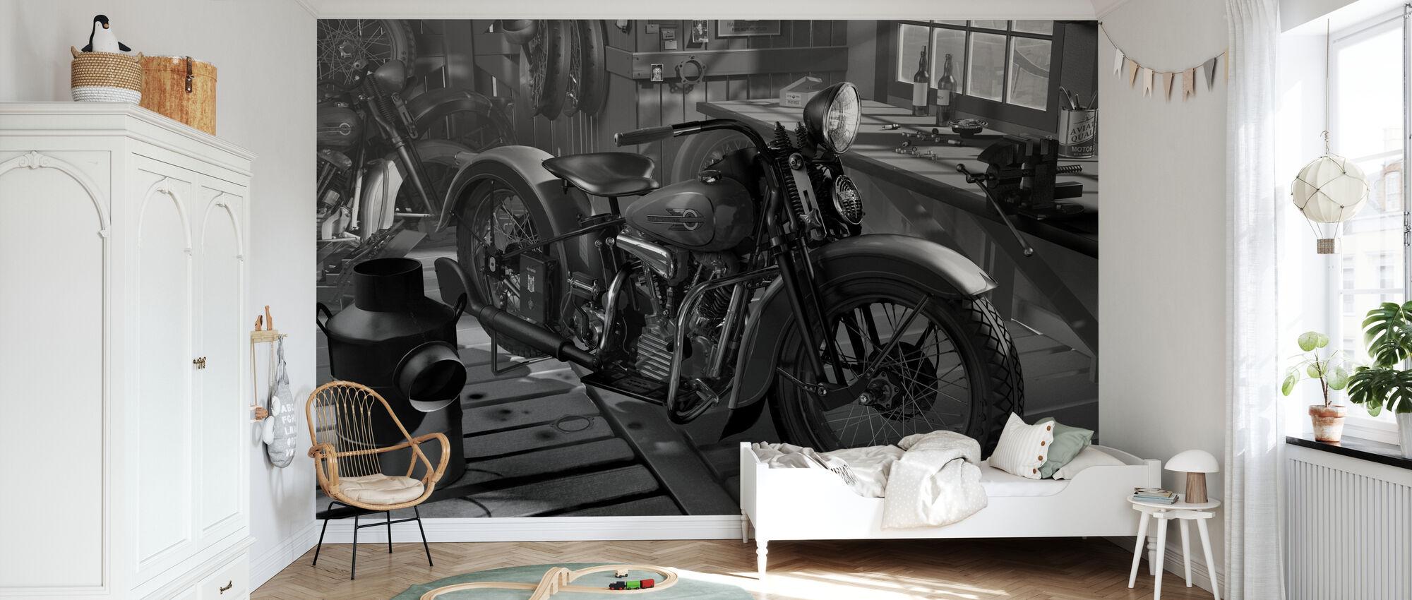 Old Barn BW - Wallpaper - Kids Room
