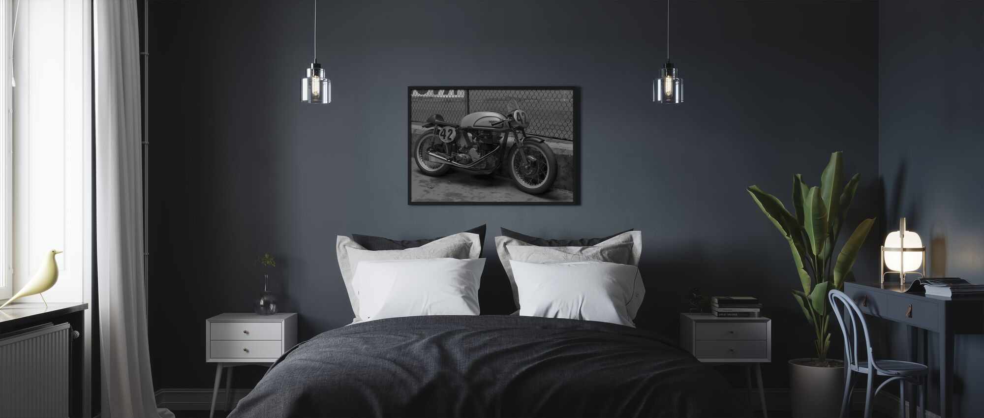 Motorcycle Final BW - Poster - Bedroom
