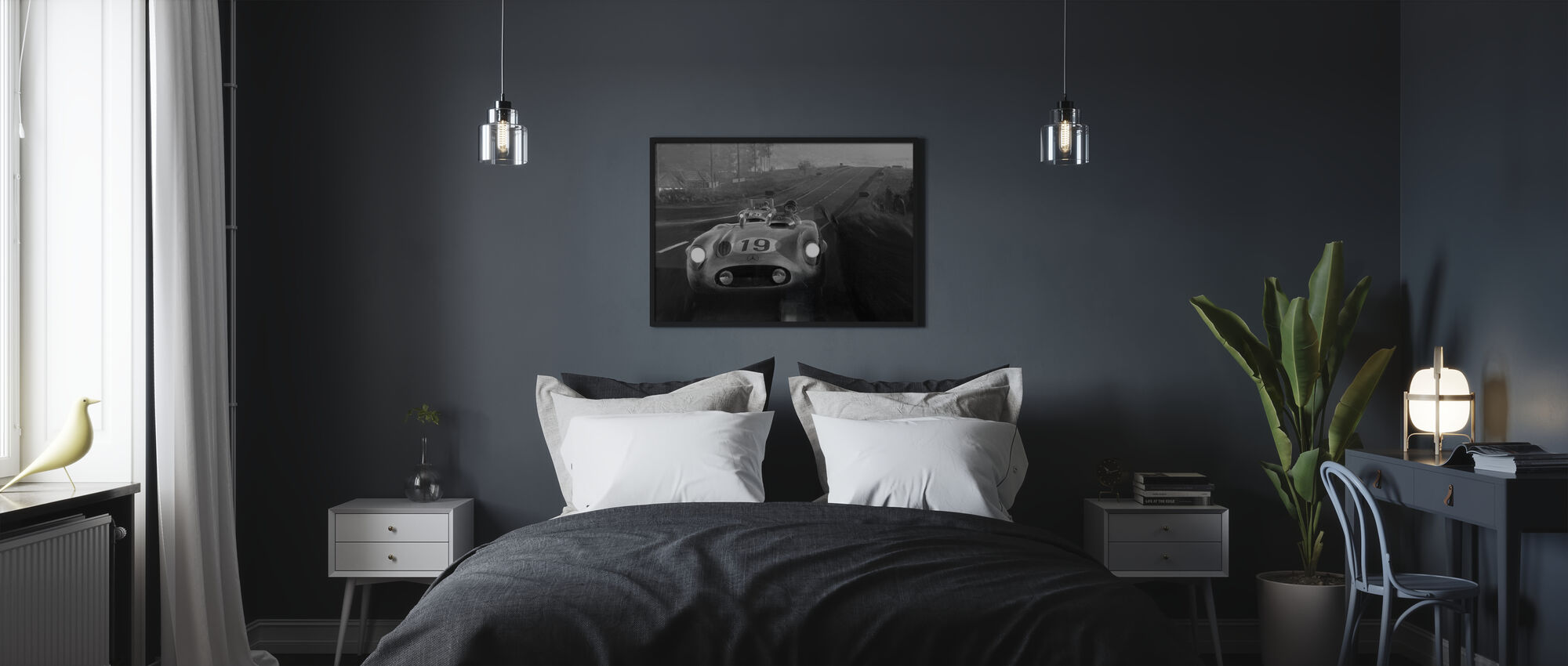 Old Classic Car BW - Poster - Bedroom