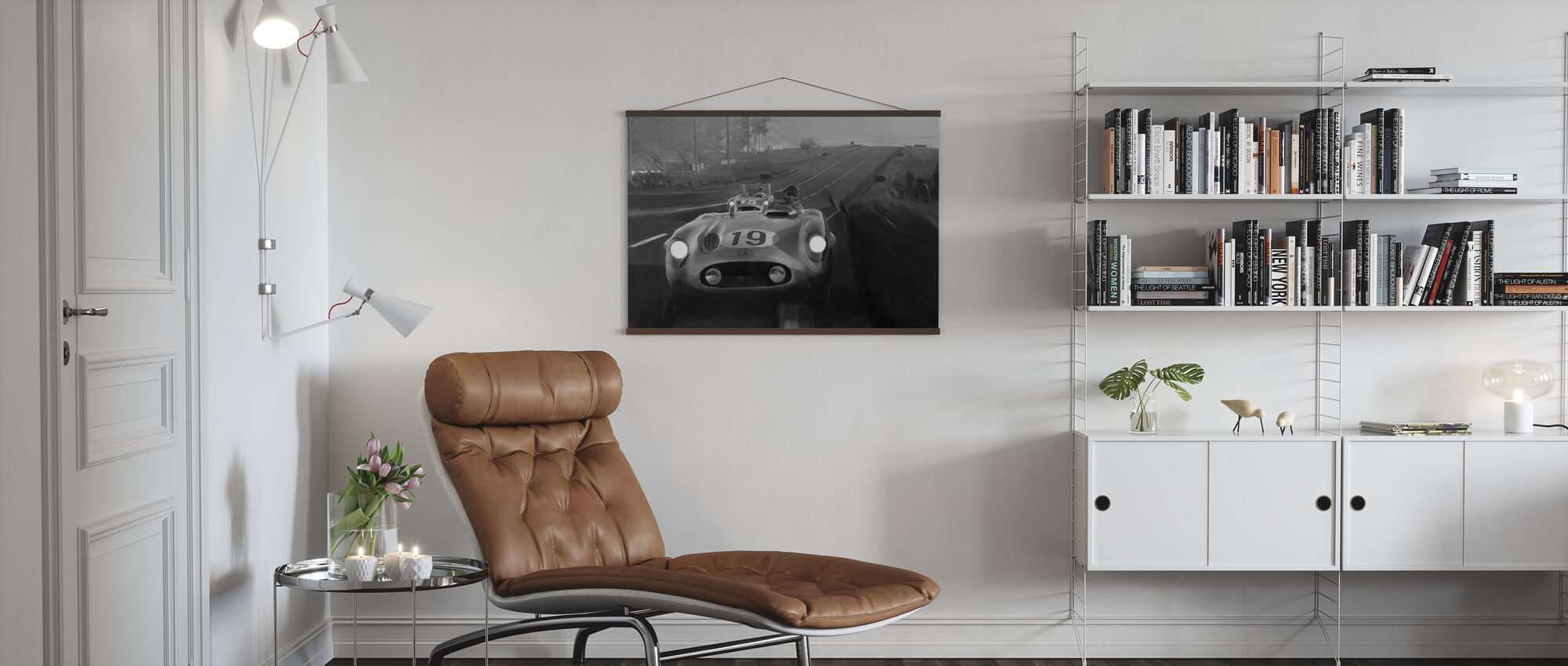 Old Classic Car BW - Poster - Living Room