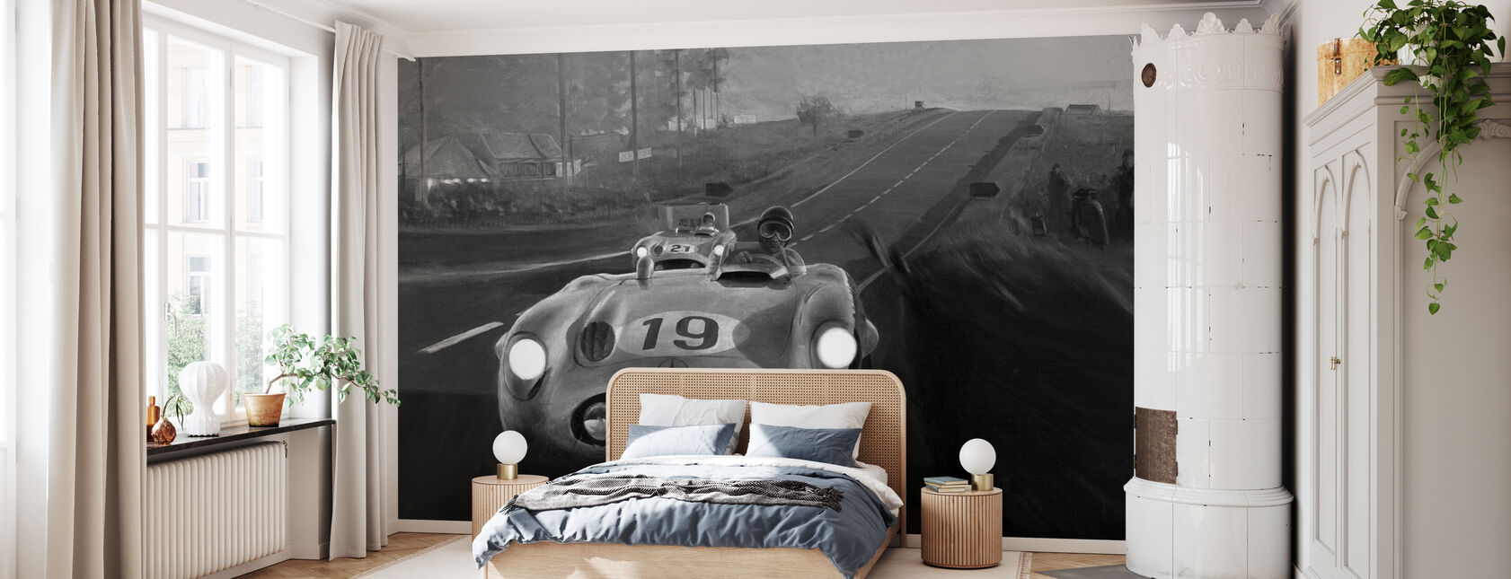 Old Classic Car BW - Wallpaper - Bedroom