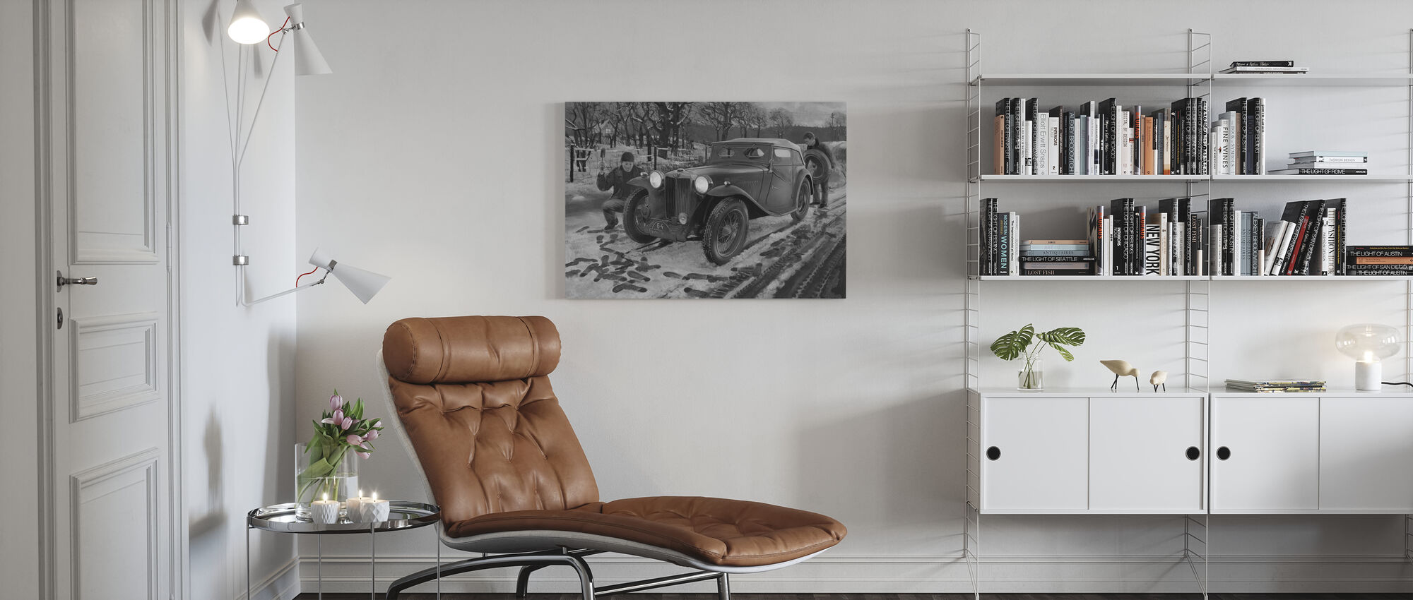 Winter Rally BW - Canvas print - Living Room