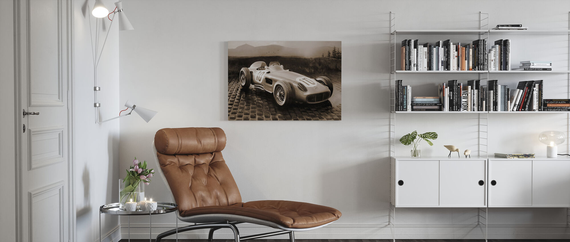 Auto 1954 Sepia - Canvas print - Woonkamer
