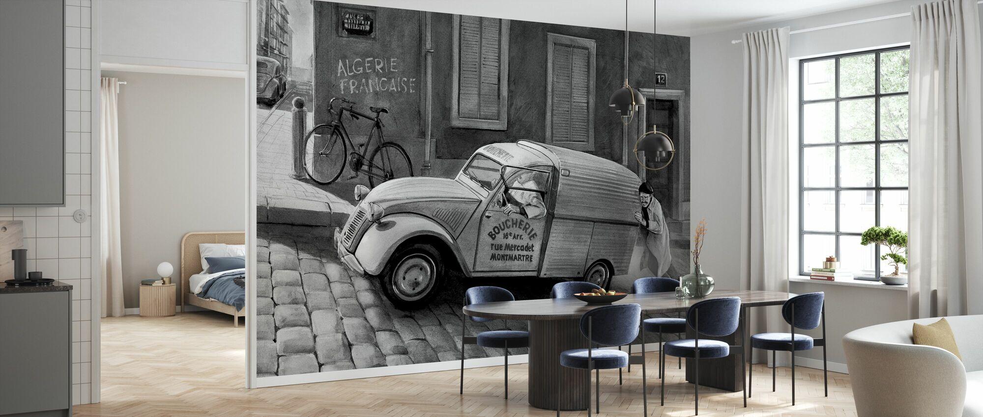Car In Paris BW - Wallpaper - Kitchen