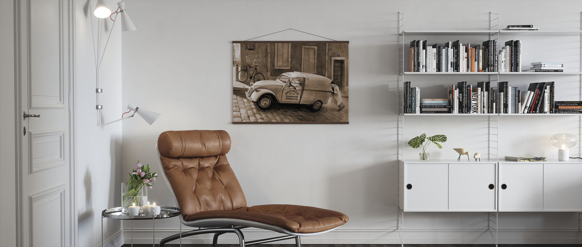 Car In Paris Sepia - Poster - Living Room