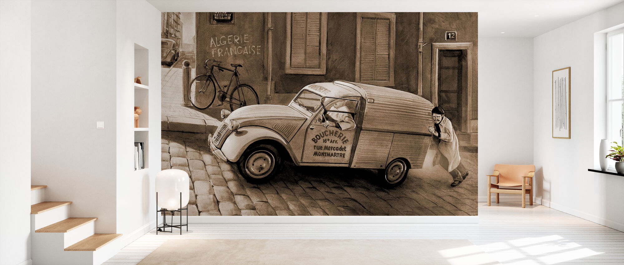 Auto Pariisissa Sepia - Tapetti - Aula