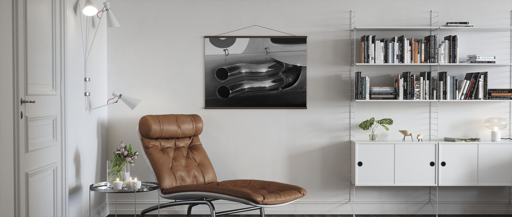 Exhaust Pipes BW - Poster - Living Room