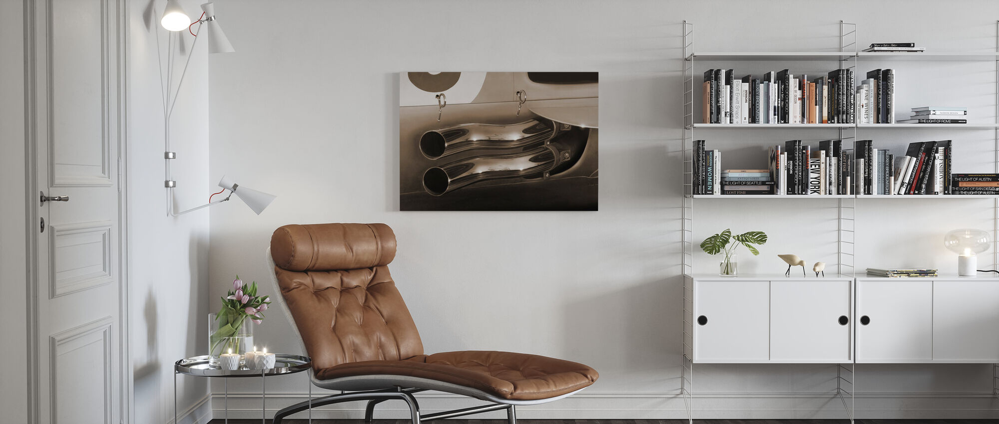 Exhaust Pipes Sepia - Canvas print - Living Room