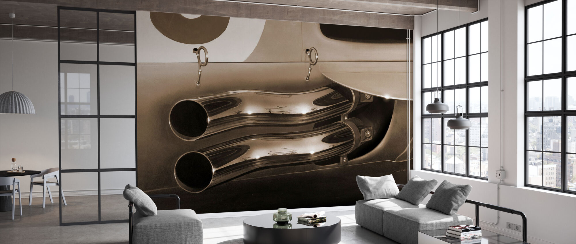 Exhaust Pipes Sepia - Wallpaper - Office