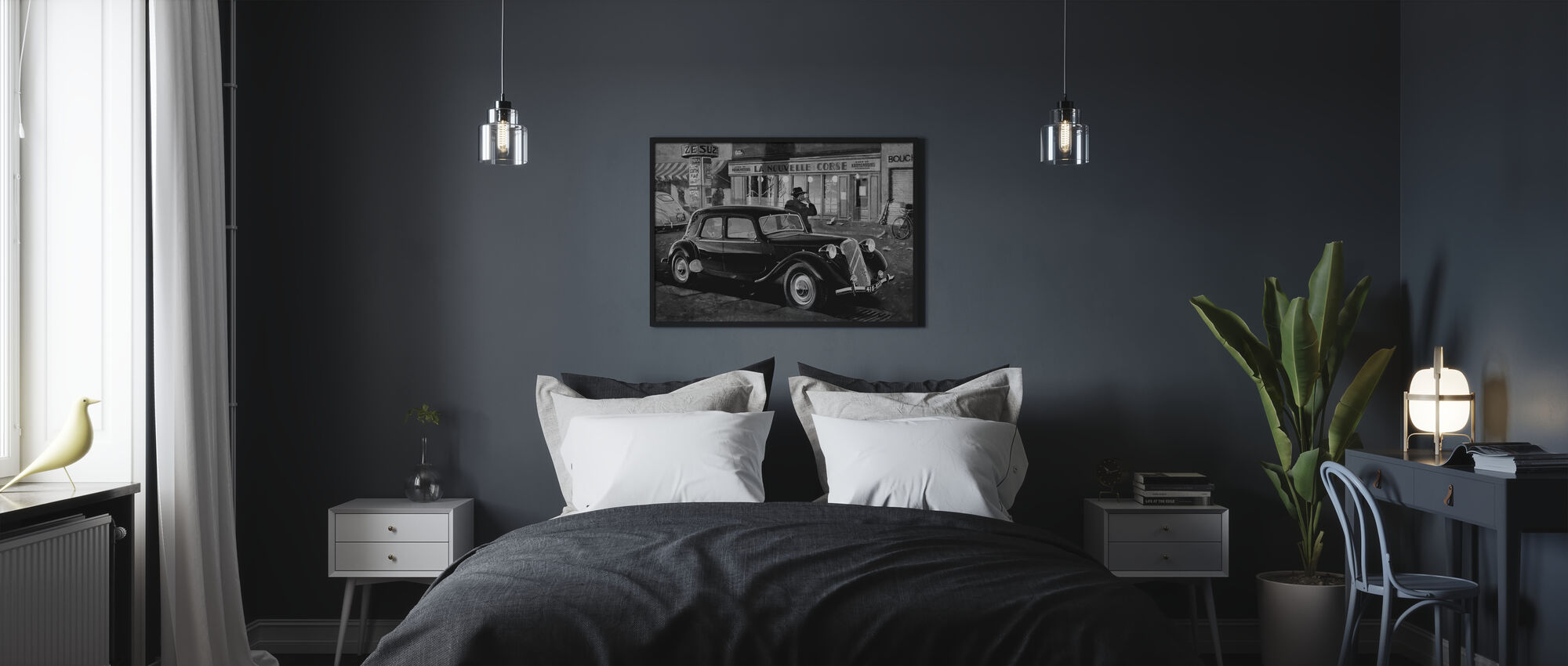 B15 in Paris BW - Poster - Schlafzimmer