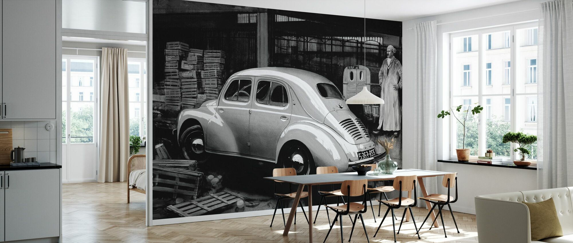 Classic Car BW - Wallpaper - Kitchen