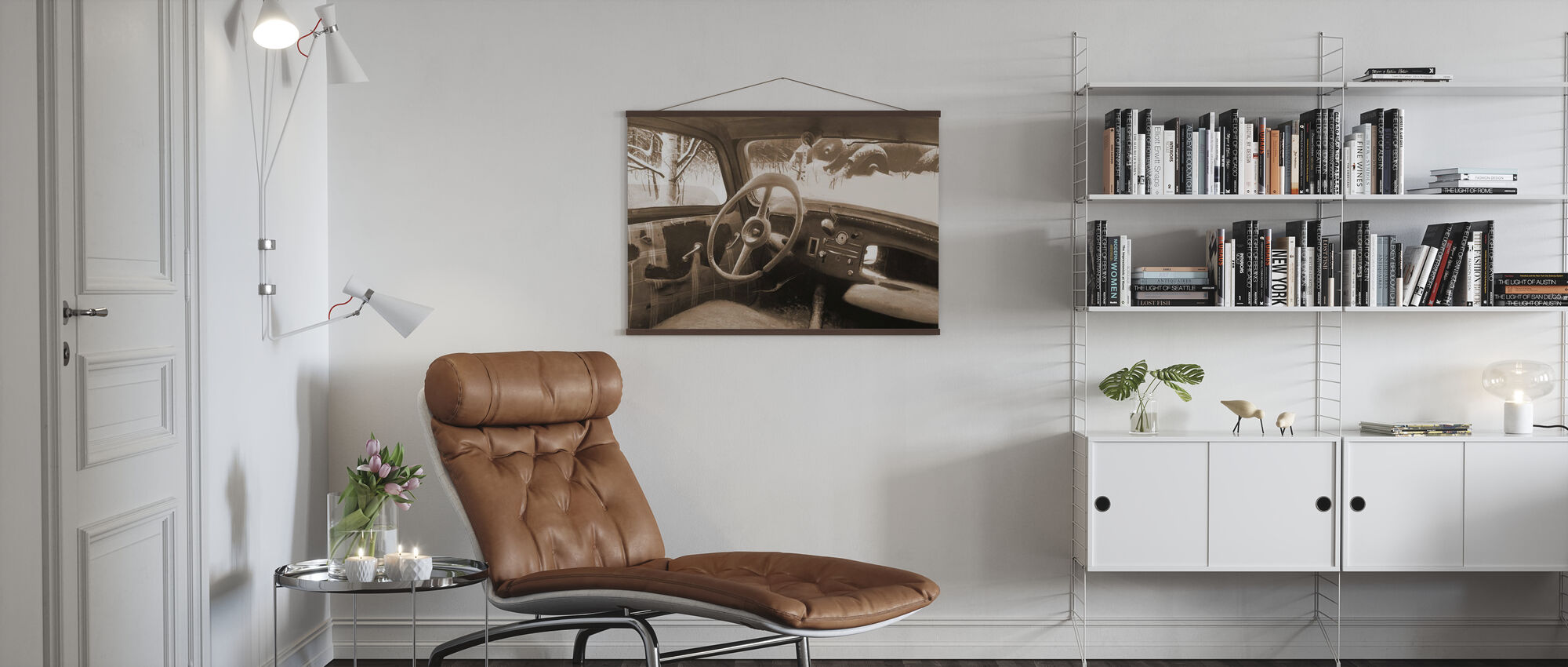 B11 Steering Wheel Sepia - Poster - Living Room