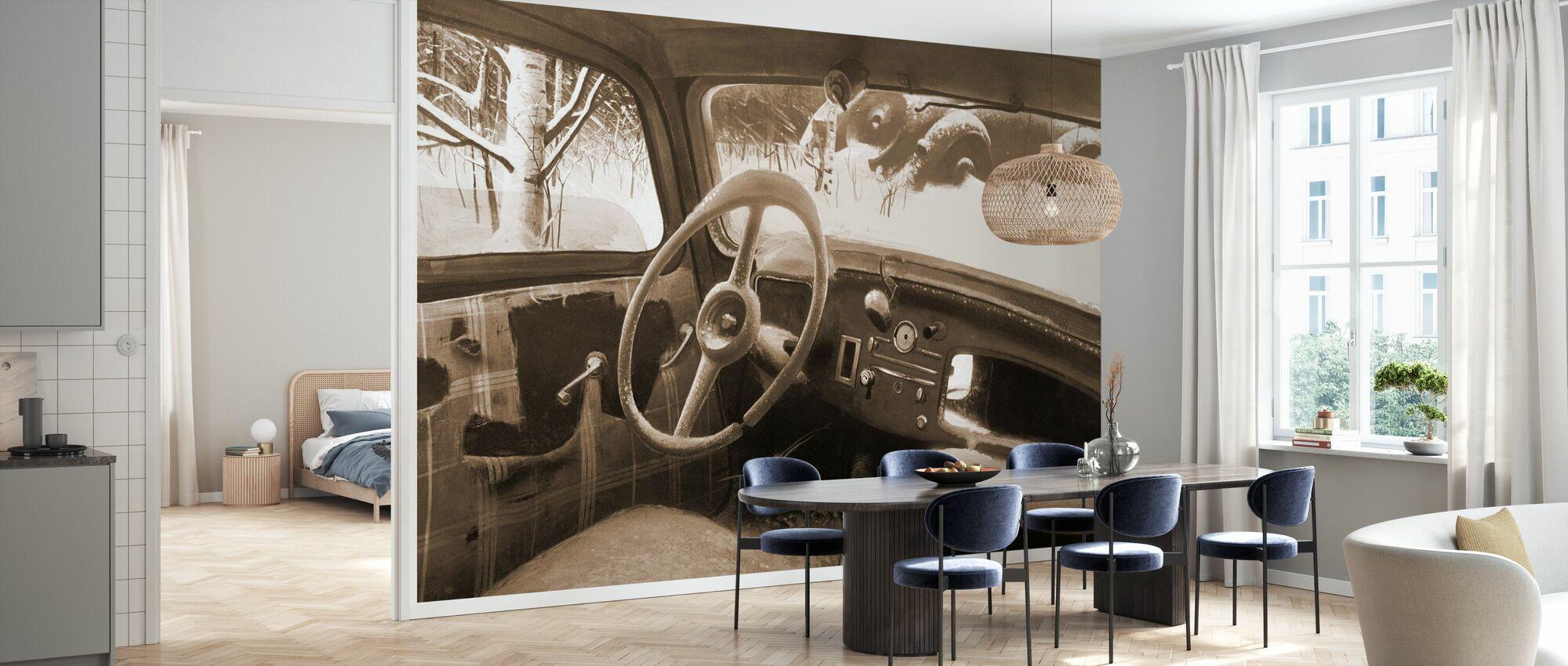 B11 Steering Wheel Sepia - Wallpaper - Kitchen