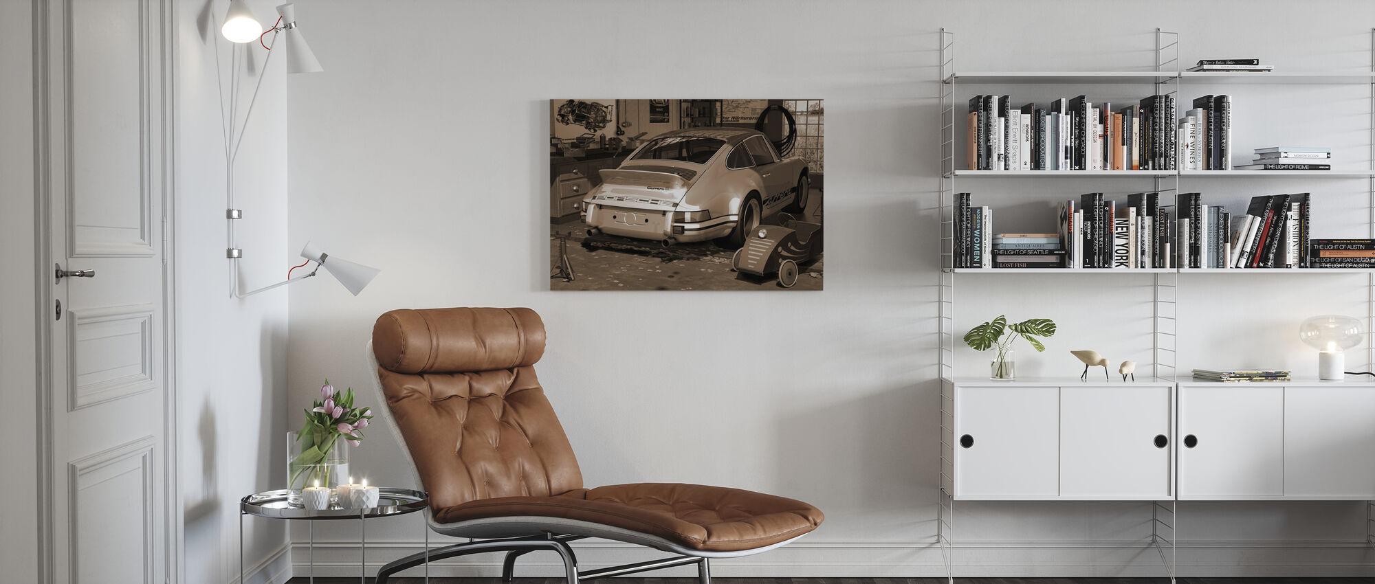Mijn eerste en tweede auto - Sepia - Canvas print - Woonkamer