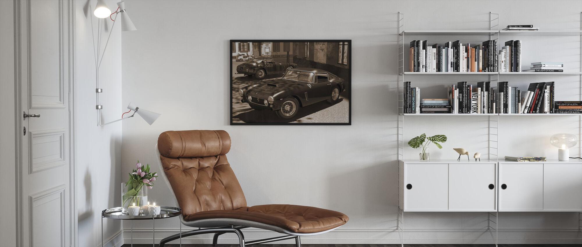 Classic Sports Car Sepia - Framed print - Living Room
