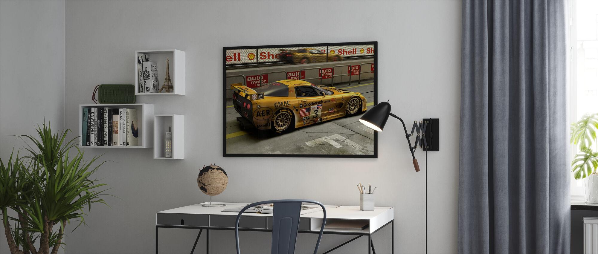 Car In Pit Lane - Poster - Office