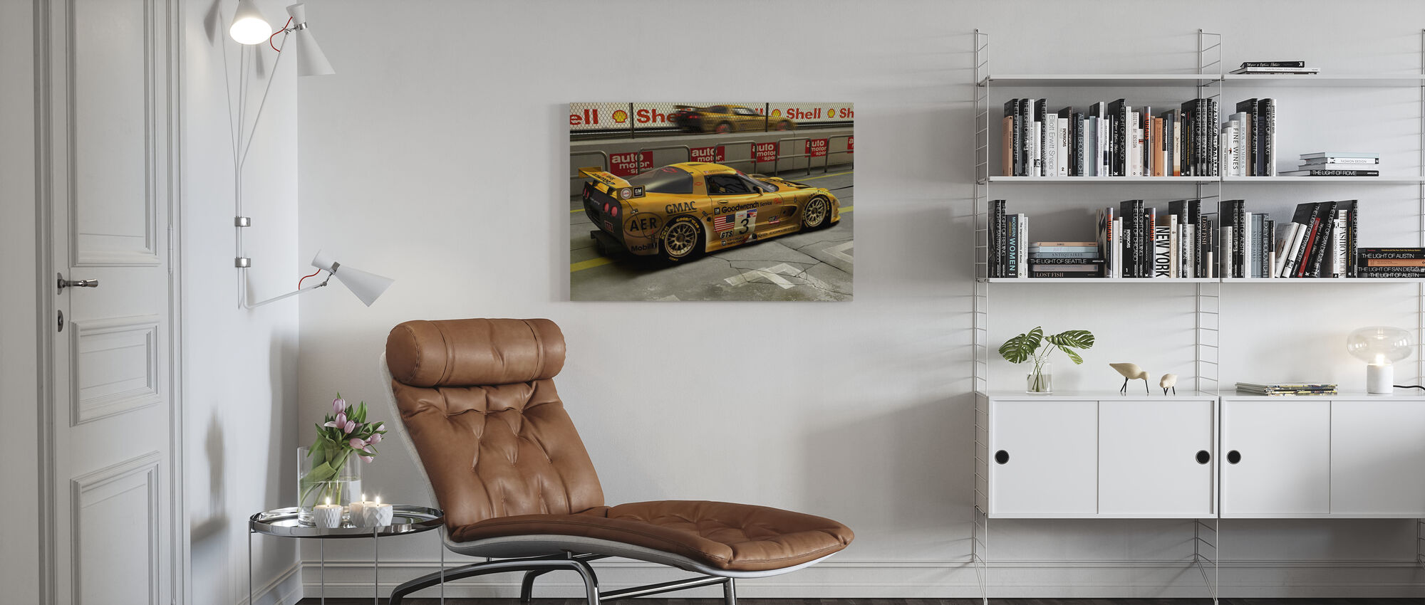 Car In Pit Lane - Canvas print - Living Room