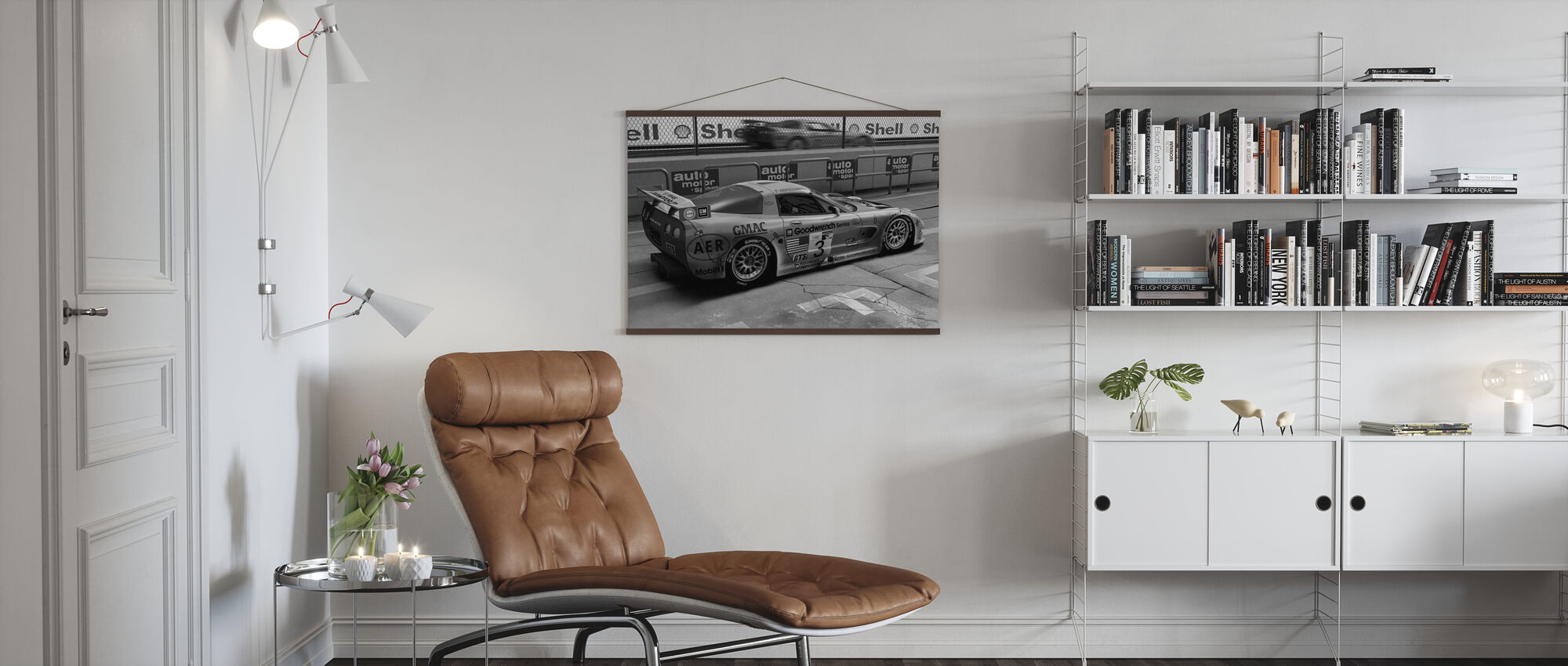 Car In Pit Lane BW - Poster - Living Room