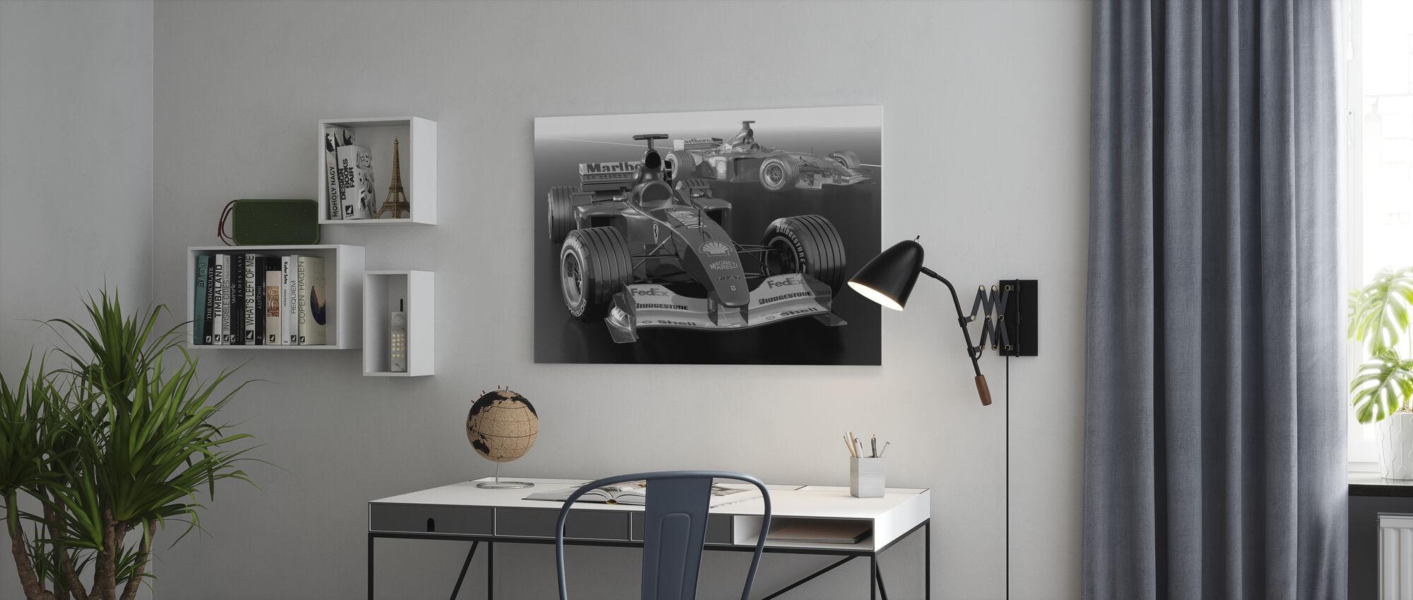 Klassieke racewagen BW - Canvas print - Kantoor